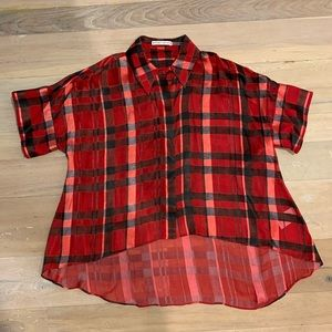Alice & Olivia Sheer Red Plaid Shirt XS